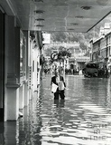A newspaper seller at the Odeon, Southgate, during the floods in July 1968