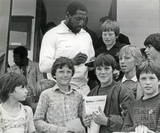 Viv Richards signing autographs for young cricket enthusiasts, 9 August 1982