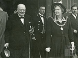 Winston Churchill and Mayoress Cllr Miss Kathleen Harper outside the Guildhall, 20 July 1950