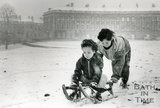 Sledging in front of the Royal Crescent, Jan 1985
