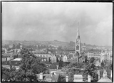 View across to St Johns and St James church spires c.1950