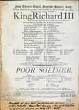 King Richard III Playbill, Oct 12 1805