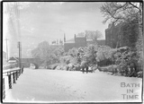 The frozen Kennet and Avon Canal, Sydney Buildings, Bathwick, Bath c.1920