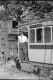 Train No1401 with coach and station master, Monkton Combe 1952