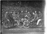 Officer's Mess Staff and motorcycles, 12th Hants Bath No.32 c. April 1915