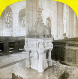 The font, Bath Abbey, Bath c.1870