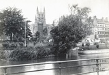 Bath Abbey and the site of Monks Mill, viewed from across the River Avon c.1890