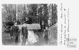 Three Shire Stones, Batheaston with three men posing beside it c.1905