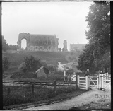 View of Malmesbury Abbey across the railway line c.1900