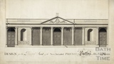 Design for the Principal front of the new intended private baths and dry pump rooms (Stall Street entrance) 1780s