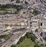 1981 Aerial view of Bath showing the unrestored Green Park Station, looking towards Queen Square 29 Sept