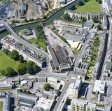1981 Aerial view of Bath showing the unrestored Green Park Station and New King Street 29 Sept