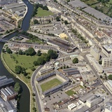 1981 Aerial view of Bath showing Kingsmead Flats, an unrestored Green Park Station and Norfolk Crescent 29 Sept