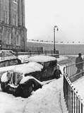 The western end of the Royal Crescent in the snow, April 1966