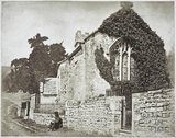 Exterior showing east window and porch, Charlcombe Church c.1855
