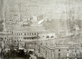 View of Bath from Beechen Cliff c.1855 - detail of railway station