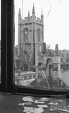 View of Christchurch, Julian Road, from a smashed window in Morford Street, 1972