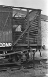 Detail from an abandoned goods carriage in the railway shunting yard at Green Park Station c.1972