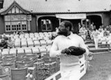 Cricketer Viv Richards heads onto the field at Bath Recreation Ground 20 June 1990