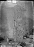 Saxon Cross inside the Church of the Holy Cross, Ramsbury, near Marlborough Wiltshire, c.1920s