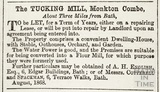 The Tucking Mill, Monkton Combe to be let August 1868