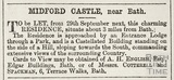 Midford Castle, to be let from 29th September 1868