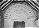 Norman Doorway and porch tympanum, St John the Evangelist church, Elkstone, Gloucestershire, 1934