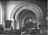 Inside St John the Evangelist church, Elkstone, Gloucestershire, c.1934