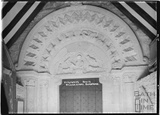 Norman Doorway and porch tympanum, St John the Evangelist church, Elkstone, Gloucestershire, August 1934