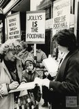 Protesters campaigning to keep Jolly's Food Hall open, 24 March 1986
