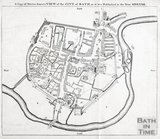 Map of Bath from An Essay towards a Description of Bath, John Wood 1749