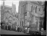 People admiring Wells Cathedral, Somerset, c.1930s