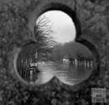 View up the flooded river through the toll bridge at Batheaston 22 January 1971