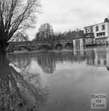 View of the flooded river at the toll bridge at Batheaston / Bathampton 22 January 1971