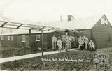 Outside the YMCA Hut, Bath War Hospital, Combe Park, Bath c.1916
