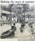 People enjoying the hot weather at Cleveland Baths, Bath, 1965