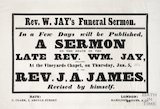 Announcement of publication of Funeral Sermon of Revd. William Jay, by the Rev. J.A. James