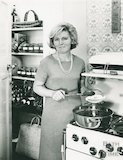 An early portrait of food writer and television presenter Mary Berry making jam, February 1970