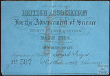 Ticket for the British Association for the Advancement of Science, Bath, 1864