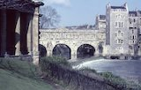 Pulteney Bridge and weir and the under croft of Grand Parade, Bath, c.1965