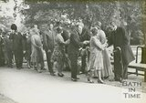 The Marquess of Bath receiving visitors to the mayoral garden party, Royal Victoria Park, June 20 1929