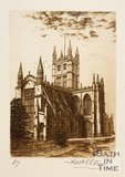 Etching of Bath Abbey from Orange Grove, 1886