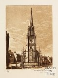 Etching of St Michael's Church, Bath, 1886