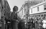 The unveiling of the restoration plaque on Pulteney Bridge, 18 June 1976