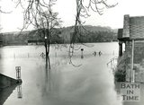 The flooded Recreation Ground and Pavilion, Bath, 1960