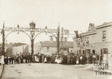 Coronation celebrations at Bridge Place and the Windsor Castle Inn, Upper Bristol Road, Bath 1902