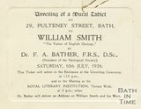 Invitation card to the unveiling of a tablet to honour William Smith, 10th July 1926]