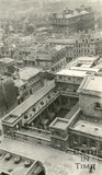 View from Bath Abbey tower looking down over the Roman Baths and Swallow Street, c.1915