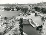 The construction of the flood defence scheme at Pulteney weir, Bath, July 23 1971