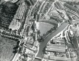 1971 Aerial view of Norfolk Crescent, Victoria Bridge, the river and Western Riverside, Bath